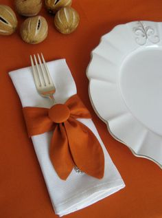 Napkin Ring Swags Set of 4 in Pumpkin.