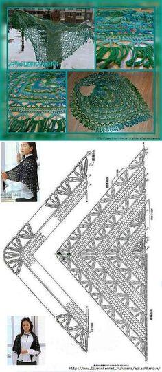 Crochet Patterns Poncho Triangular shawl of dundaga. Gilet Crochet, Crochet Poncho Patterns, Crochet Shawls And Wraps, Shawl Patterns, Knit Or Crochet, Crochet Granny, Crochet Scarves, Crochet Clothes, Free Crochet