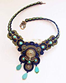 #sale #20% #etsyjewelry #etsyshop #accessories #panka #necklace #soutachenecklace #soutache #beadwork #blue