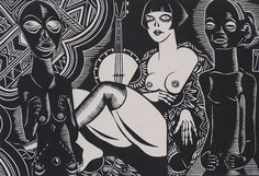 Meisje met Feitschen (Woman with Fetish Objects) - HENRI VAN STRATEN - linoleum cut