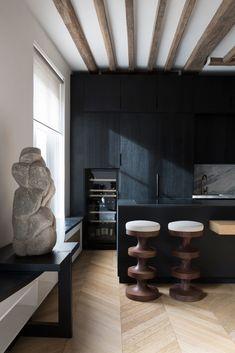 TP Apartment in Paris by Studio Arthur Casas | Yellowtrace Decor, Black Kitchens, Interior, Interior Inspiration, Dark Stained Cabinets, Minimalist Apartment, Home Decor, House Interior, Interior Design
