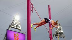 Holly Bleasdale of Great Britain attempts a vault in the women's Pole Vault final on Day 10 of the London 2012 Olympic Games at the Olympic Stadium