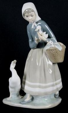 Signed LLADRO Figurine Shepherdess with Ducks 4568 Retired Ducklings Basket