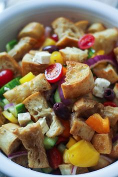 Easy Greek Panzanella. Mmmm. So good.