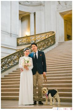San Francisco City Hall Documentary Wedding Photographer - Hazel Photo Weddings with dogs.