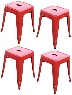 """""""Toledo"""" Replica Tolix Table Stool in Red (Set of 4) – Simply Bar Stools"""