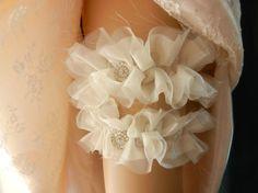 Wedding Garter Set, Bridal Garter Set, Garter Set, Garter, Garters, Silk Garter, Organza Garter, Vintage Garter, Ruffled Stretch Garter