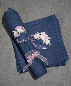 Льняные салфетки на заказ с вышивкой Sweet Home