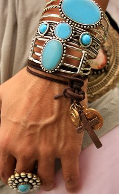 TURQUOISE CLUSTER BANGLES (3) - Junk GYpSy co.
