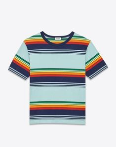9ac634ca Short Sleeve T-Shirt in Blue, Navy Blue, Green, Orange and Yellow Venice  Striped Cotton Jersey