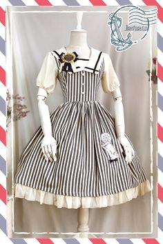 Vertical Stripes Sweet Lolita Dress #lovejoynet http://www.lovejoynet.com/Lolita-Fashion-Cotton-Navy-Style-Dress-with-Vertical-Stripes-Sweet-Lolita-Dress-p5120.html