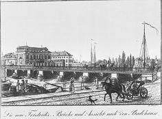 Das Welpersche Badehaus an der Friedrichsbruecke im Jahr 1835 stand auf der heutigen Museumsinsel.