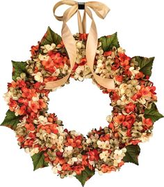 WREATH SALE Hydrangea Blended Wreath Front by HomeHearthGarden