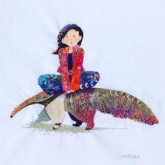 @kimikahara - Instagram:「anteater & girl 🐜🍓 #embroidery #embroiderydesign #embroideryart #embroideryartist #modernembroidery #art #artwork #artist #embroidelicious…」 Modern Embroidery, Embroidery Art, Embroidery Designs, Textiles, Princess Zelda, Japanese, Quilts, Stitch, Drawings