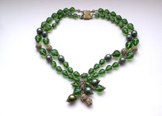 1940s European double strand green white swirl art glass beads necklace with a tassel glass beads fringe