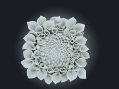 Dahlia Flower Wall Tile 2 by LayersOfClay on Etsy