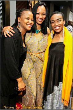 Edwidge Danticat, Garcelle Beauvais, Emeline Michel at Moca Cafe Haiti