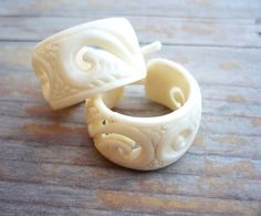 Round Hoop Hand Carved Buffalo Bone Post Earrings by organicethnic, $14.00, not sure how I feel about the buffalo bone...