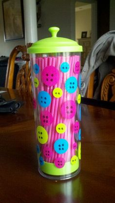 DIY polka dot straw dispenser. Used dry erase marker for the dots to look like buttons so its erasable. Lalaloopsy party