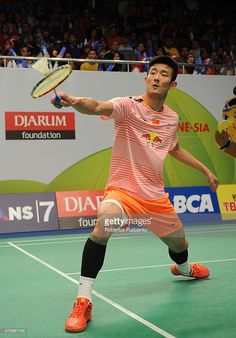 Chen Long of China returns a shot against Parupalli Kashyap of India during the 2015 BCA Indonesia Open Quarterfinals match at Istora Senayan on June 5, 2015 in Jakarta, Indonesia.