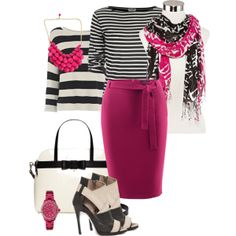"""""""Pop of hot pink"""" by jfkaulback on Polyvore"""