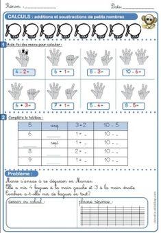 Additions et soustractions de petits nombres Kindergarten Math, Kids Learning, Worksheets, Alphabet, Voici, Activities, School, Montessori, Inspiration