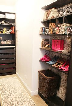 built in closet cubbies for purses and shoes