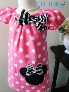 Minnie Peasant Dress Bubble Gum Pink dots and Zebra by cutieflair, $29.00