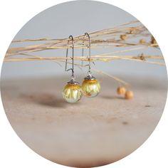 Flower earrings/ resin sphere ball earrings by EightAcorns on Etsy