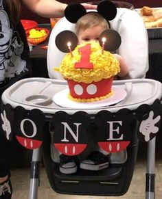 Mickey Mouse Inspired Birthday Banner, ONE Banner, Mickey Mouse Highchair Banner, Mickey Mouse Clubhouse Birthday Party Decoration, Banner Mickey Mouse Birthday Banner ONE Banner Mickey por LittleMichaels Mickey 1st Birthdays, Fiesta Mickey Mouse, Mickey Mouse First Birthday, Mickey Mouse Clubhouse Birthday Party, 1st Boy Birthday, Birthday Ideas, Birthday Chair, Mickey Mouse Birthday Decorations, Mickey Mouse Parties