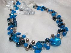 beaded wire crochet necklace,