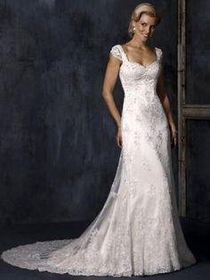 A-line Straps Neckline Sweep/Brush Train Lace Wedding Dress
