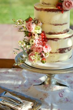 Flowers & Fruit Semi Naked Wedding Cake