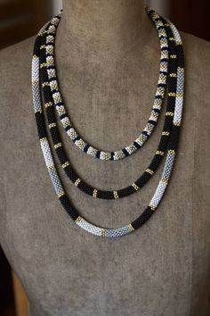 Black Gold Multistrand Necklace, Three Tier Beadwork Necklace, African Necklace, Dainty Black Gold N Multi Strand Necklace, Bar Necklace, Beaded Jewelry, Beaded Necklace, Gold Jewelry, High Jewelry, Jewelry Box, African Necklace, African Jewelry
