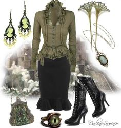Love this Victorian inspired outfit, but without the jewelry for my taste ♥