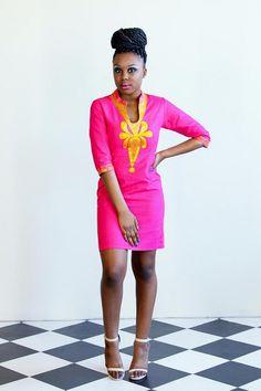 Design of a Diaspora Pink Mirage Linen Gold Embroidery Dress~Latest African Fashion, African Prints, African fashion styles, African clothing, Nigerian style, Ghanaian fashion, African women dresses, African Bags, African shoes, Nigerian fashion, Ankara, Kitenge, Aso okè, Kenté, brocade. ~DK
