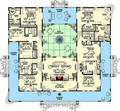 Open Courtyard Dream Home Plan - 81384W | 1st Floor Master Suite, CAD Available, Courtyard, Florida, In-Law Suite, MBR Sitting Area, Mediterranean, PDF, Photo Gallery, Southwest, Spanish, Split Bedrooms, Wrap Around Porch | Architectural Designs