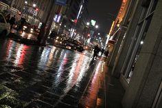 Raining night, pavements. Reflections.