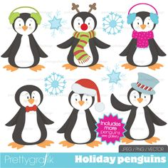 16 penguin and snowflake clipart perfect for holiday and christmas projects, scrapbooking, cards, gift tags and more.