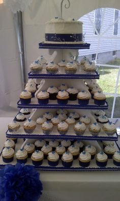 Royal Blue and Silver Wedding Cupcakes