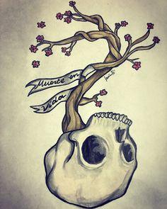 """""""Muerte en vida"""" Dibujo tradicional a acuarelas al agua y micropen"""