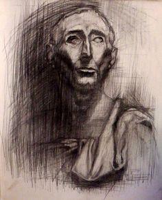 """Charcoal on Ingres paper, 50x70cm, """"Niccolo da Uzzano"""""""