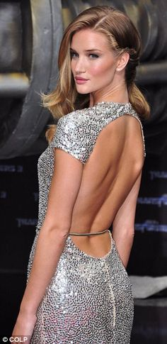 Cutting edge: The back view of Rosie's stunning silver sequined Naeem Khan gown