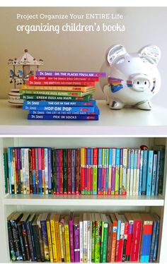 Great tips on how to organize (and when to get rid off) kid books via MPMK