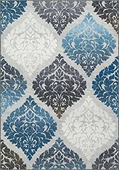 """Area Rug, Gray & Blue Damask Lanterns Easy Care Non-Shed Living Room Carpet, 8' 2"""" X 10'"""