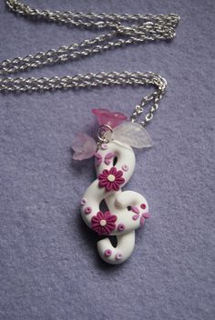Treble Clef necklace with flower polymer clay (white)