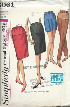 1960s Simplicity 6061 Maternity Skirts by DawnsDesignBoutique