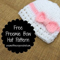 Doesn't this cute preemie hat look like a present? It has a cute bow that wraps around like on a present with lacy ribbing! Imagine a precious baby girl in this. Maybe even consider donating one!