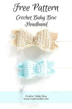Free Pattern: Crochet Baby Bow Headband. From Craftin' Nikki Bog.  #crochet #patterns #baby #babygirl #babybow #diy #babyaccessories #momblog #craftblog #craftinnikki