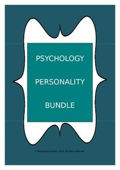 MASSIVE SAVINGS!!!!  SAVE BY PURCHASING THIS BUNDLE!This resource is a comprehensive set of power-point slides, worksheets, activities and revision handouts - all related to the teaching of Personality Psychology to high school/senior high school/college students.
